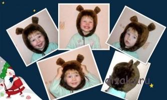 Як зшити з хутра дитячу шапку з вушками ведмедик своїми руками