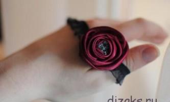 Пов`язка на голову з квіткою з атласної тканини своїми руками
