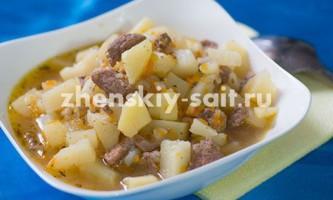 Тушкована картопля з м`ясом в мультиварці поларіс - рецепт з фото
