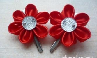 Шпильки для волосся: квіти канзаші з круглих пелюсток